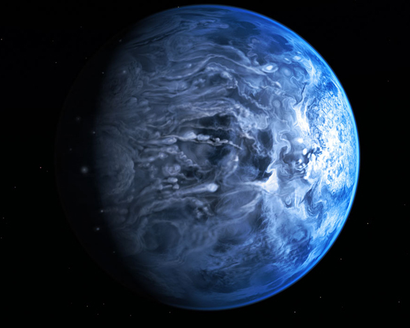 Exoplaneta de color azul