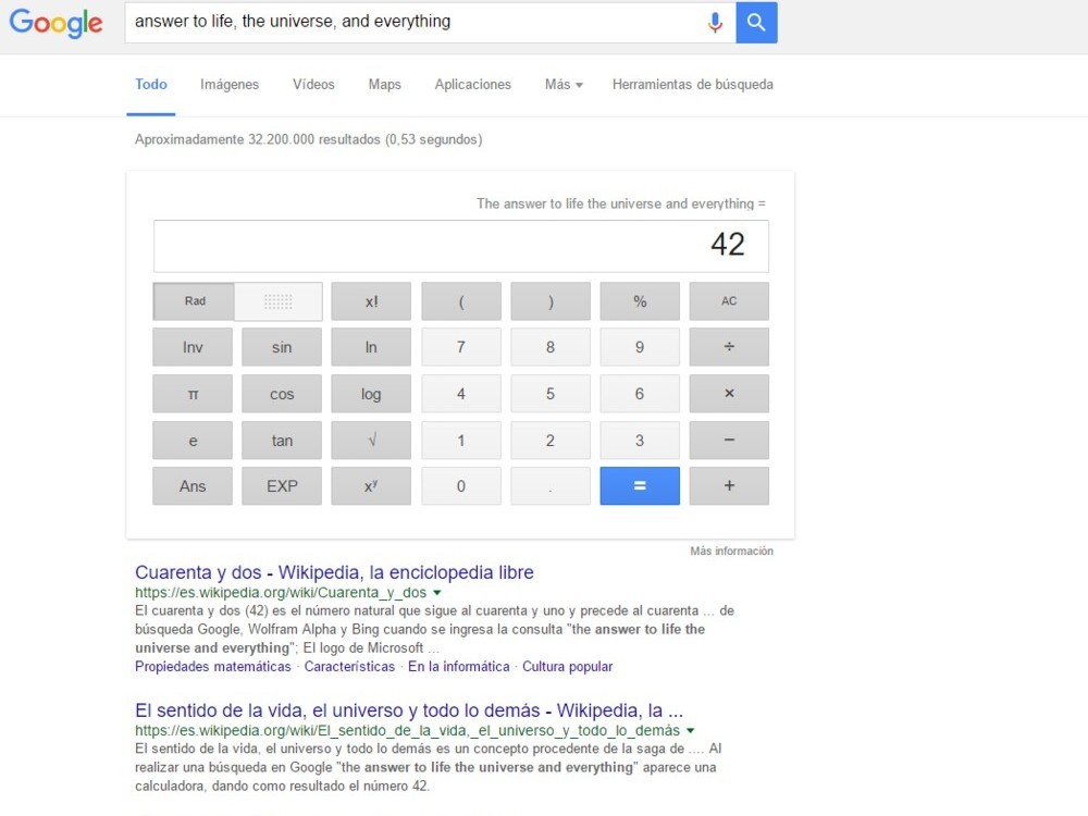 "Si buscas ""answer to life, the universe, and everything"" en Google"